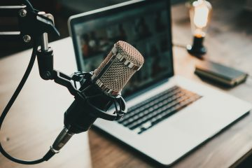Home,Studio,Podcast,Interior.,Microphone,,Laptop,And,On,Air,Lamp
