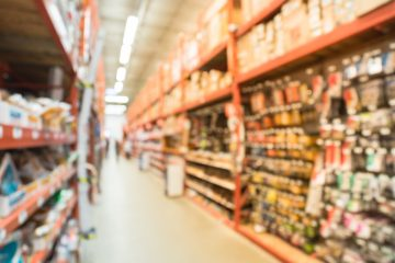 Blurred,A,Large,Hardware,Store,,Tools,And,Material.,Defocused,Interior