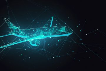 Abstract,Polygonal,Airplane,On,Black,Background.,Ai,And,Teamwork,Concept.