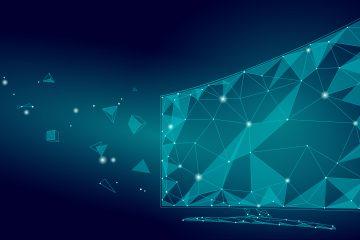 Low,Poly,Smart,Tv,Screen,Video.,Polygonal,Virtual,Reality,Desktop