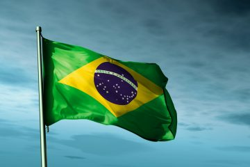Brazil,Flag,Waving,In,The,Evening